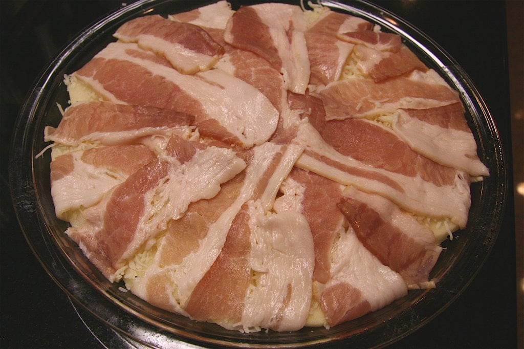 Bring the bacon slices to middle of the pie plate. Cover with a heavy lid (an ovenproof saucepan lid will suffice) and bake 40-45 minutes or until potatoes ... & Bacon and Potato Pie - The Culinary Chase
