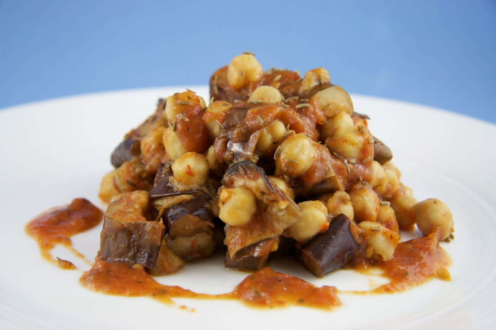 Cumin-Scented Chickpeas with Roasted Eggplant and Rustic Tomato Sauce ...