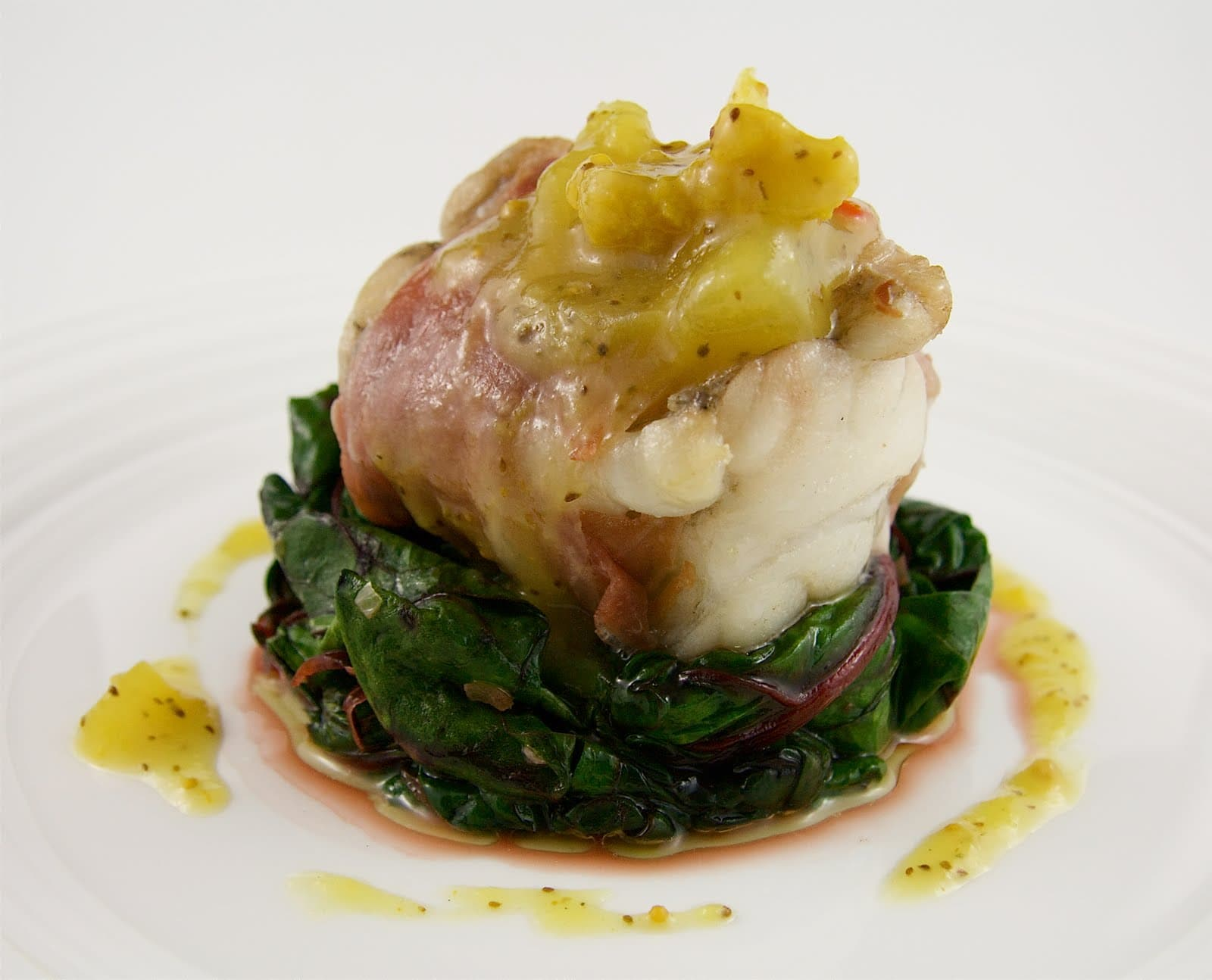 Prosciutto wrapped monkfish with chard and mustard pickles for Monk fish recipes