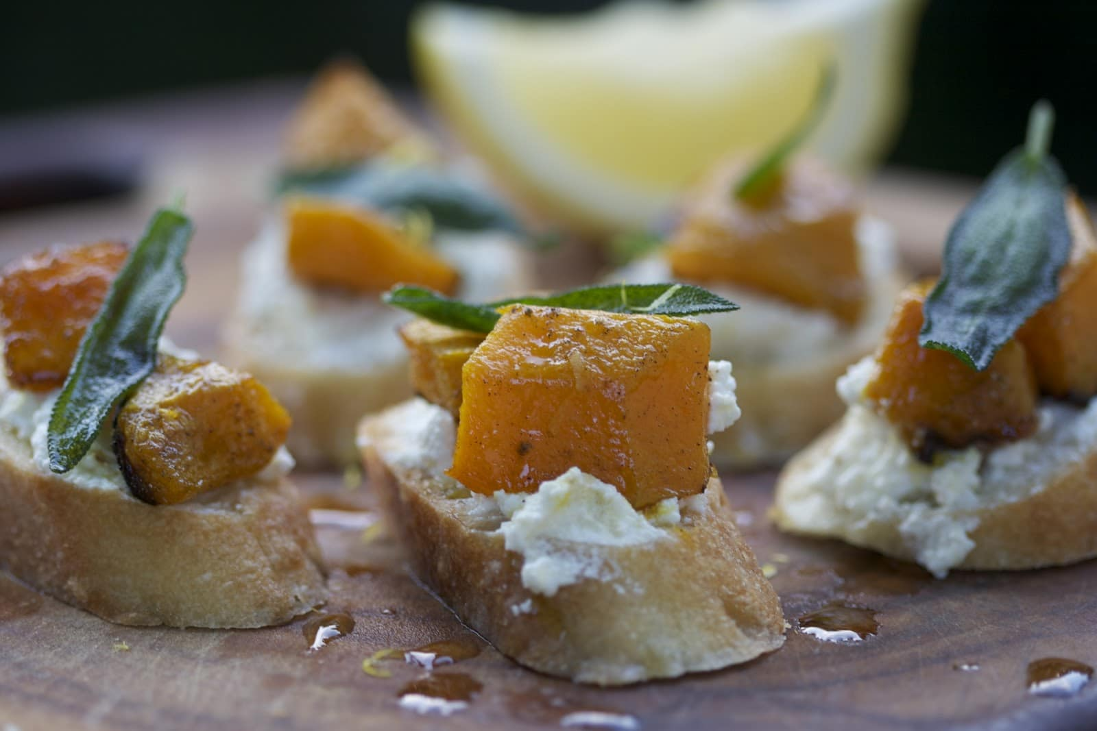 Butternut Squash, Ricotta, and Sage Crostini - The Culinary Chase