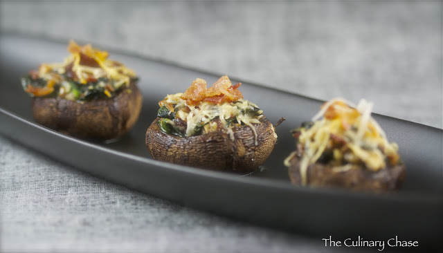 Spinach and Bacon Stuffed Mushrooms - The Culinary Chase