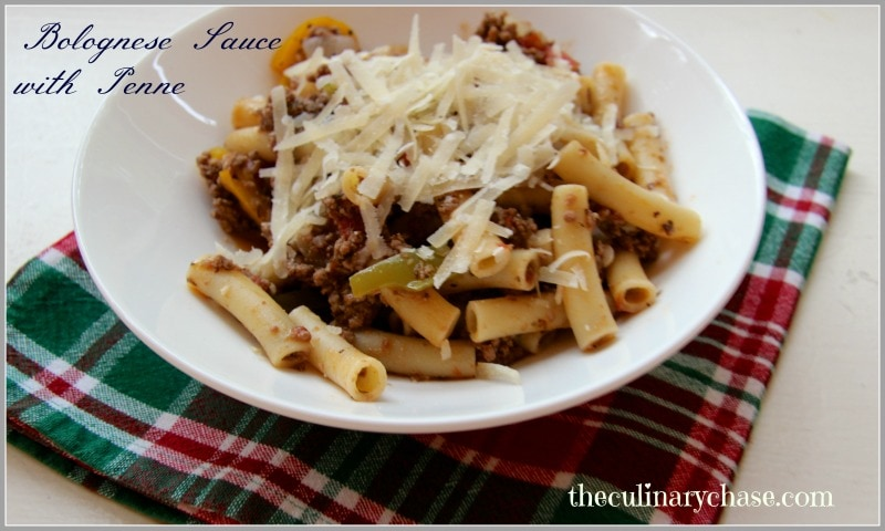 bolognese sauce with penne