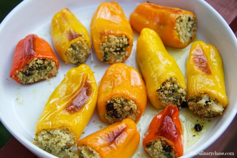 stuffed peppers with couscous, halloumi & currants