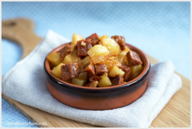 Potatoes with Chorizo by The Culinary Chase