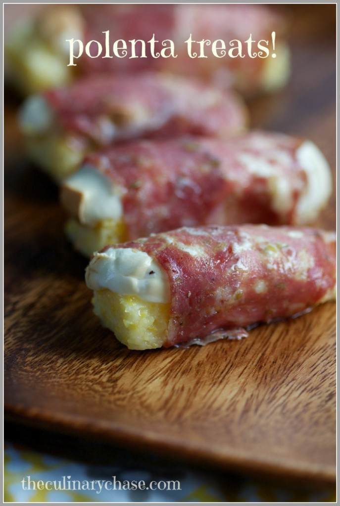 polenta sticks with smoked mozzarella wrapped in salami by The Culinary Chase