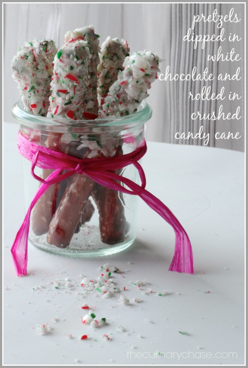 Pretzels Dipped in White Chocolate and Crushed Candy Cane - The ...