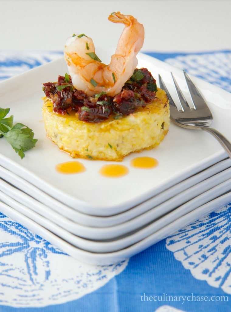 shrimp on polenta rounds by The Culinary Chase