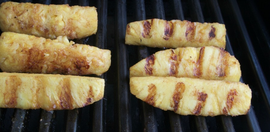 pineapple wedges on the bbq