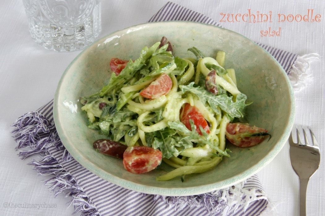 zucchini noodle salad with avocado dressing