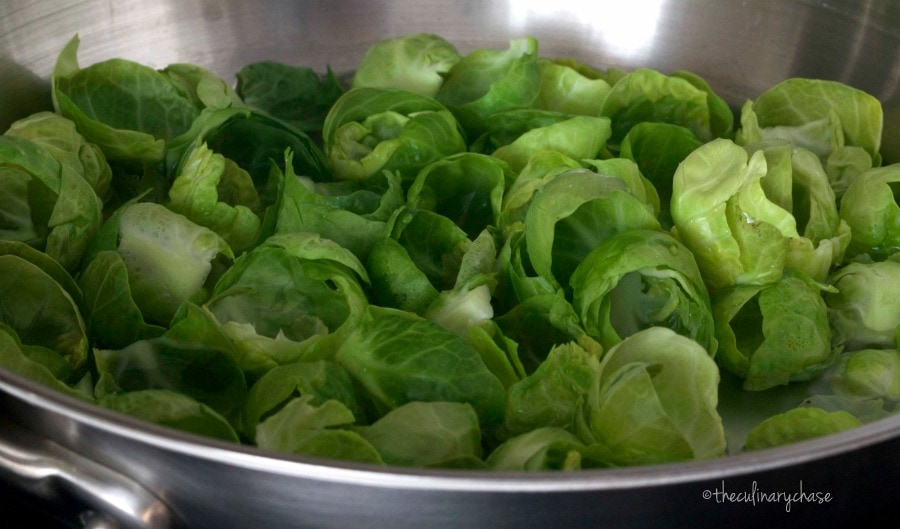 blanched Brussels sprout leaves