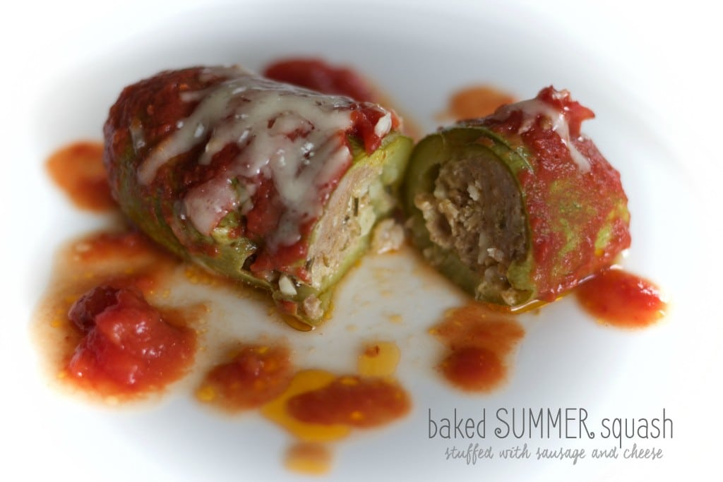 baked summer squash stuffed with pork