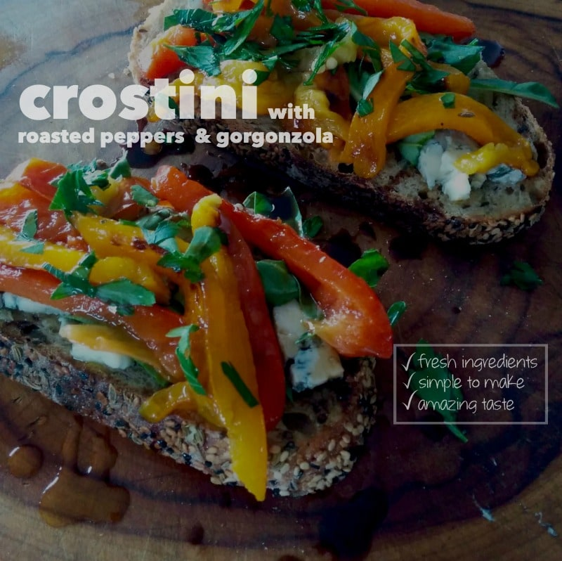crostini with roasted peppers & gorgonzola