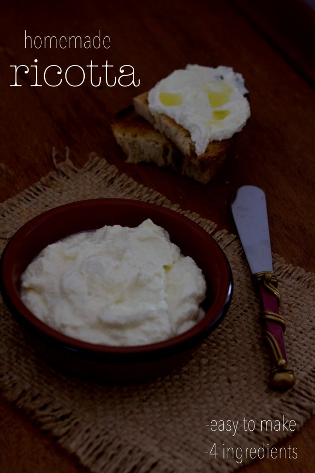 easy to make, homemade ricotta cheese