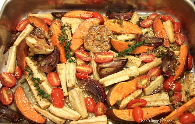 Roasted Parsnips & Sweet Potatoes with Caper Vinaigrette