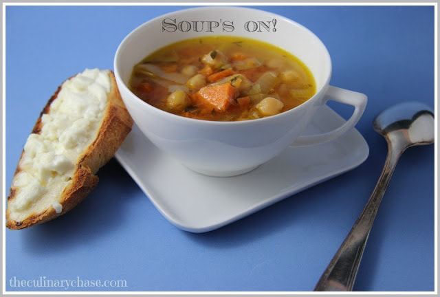 Chickpea Soup with Sweet Potato and Feta Crostini