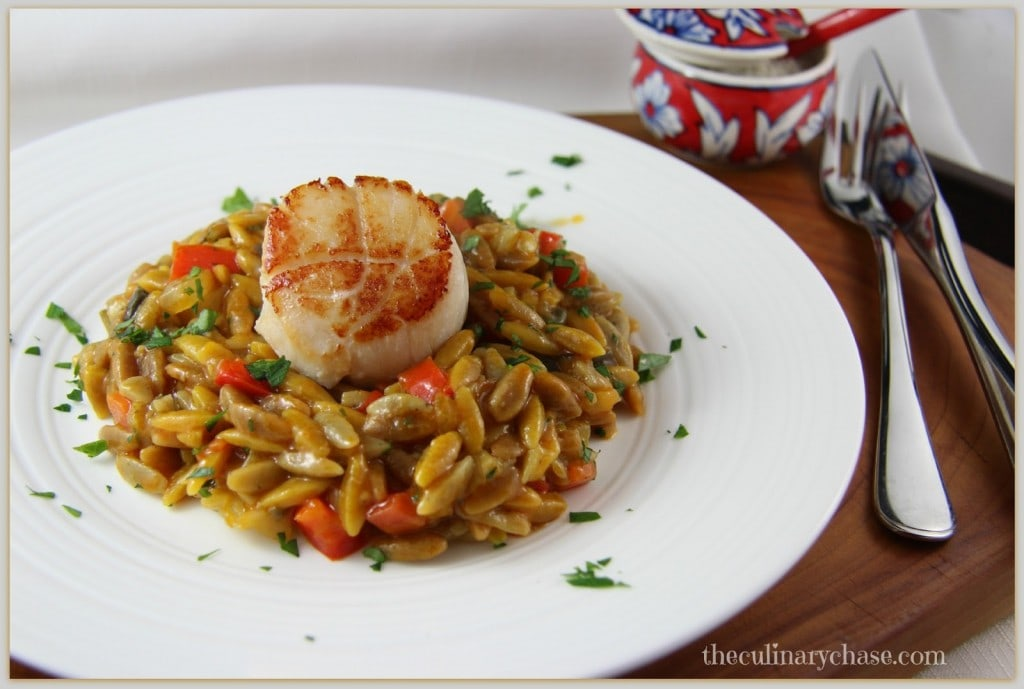 vegetable orzo with seared sea scallops