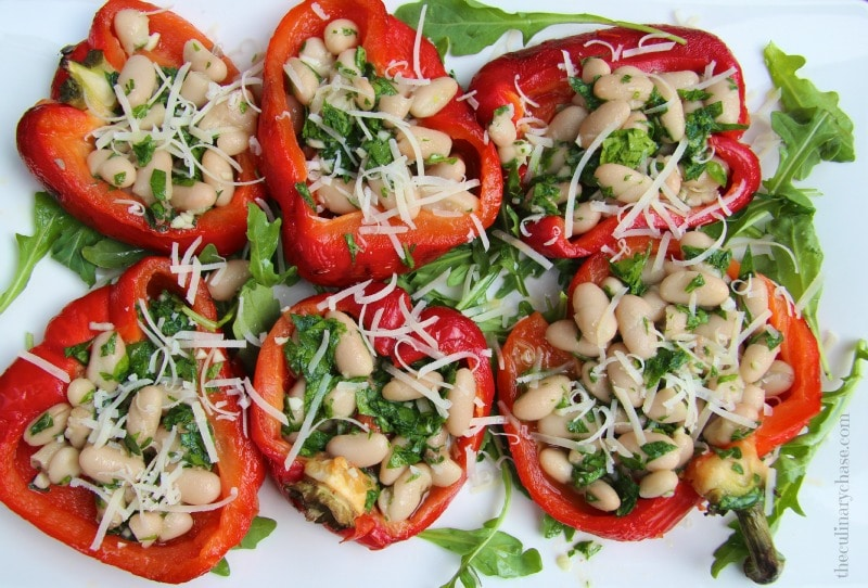 roasted red pepper salad with white beans & anchovy sauce
