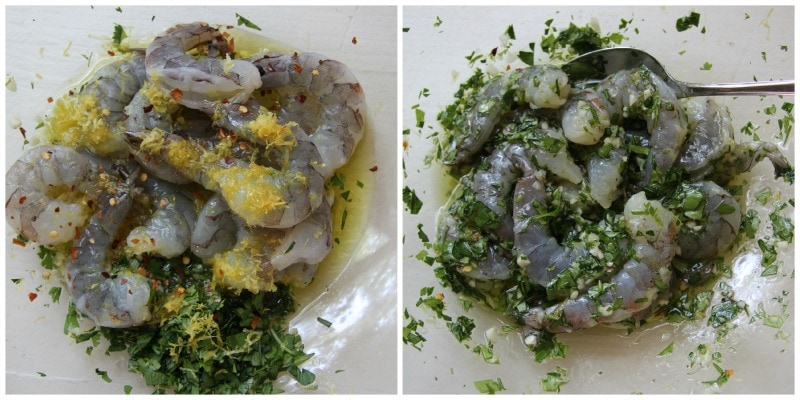 garlicky herbed shrimp Collage