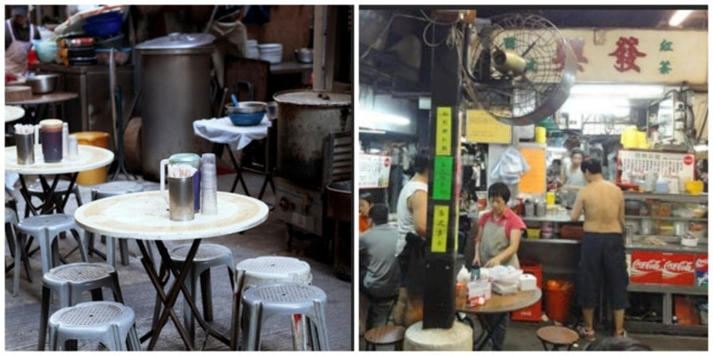 a typical open air food stall in Hong Kong