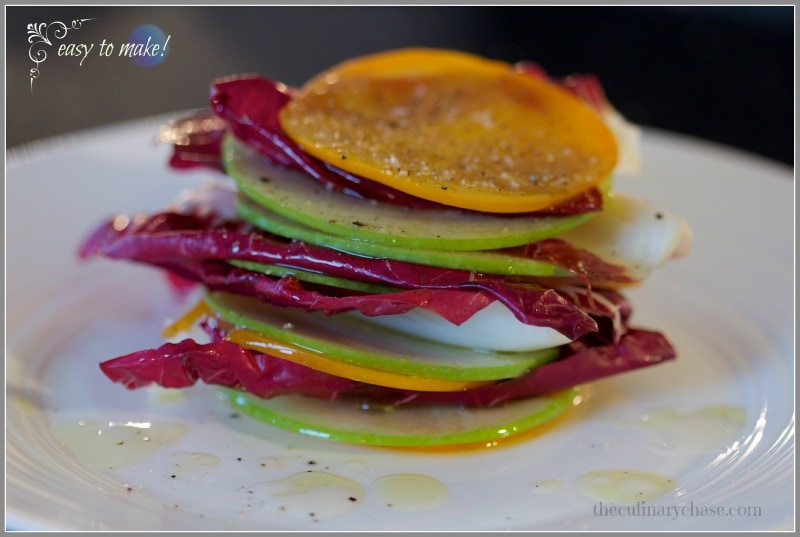 persimmon apple radicchio stacks by The Culinary Chase