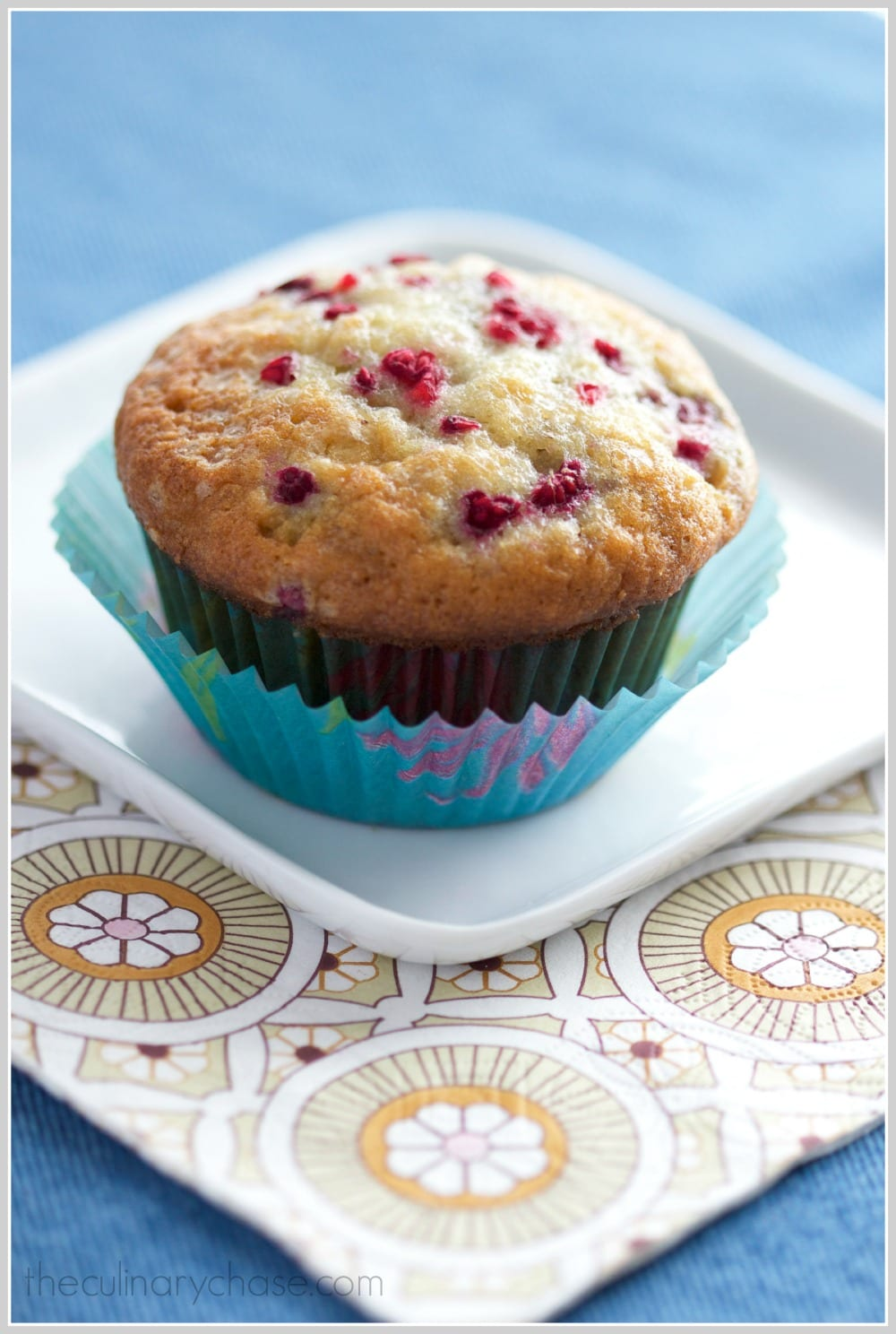 banana chocolate chip raspberry muffin by The Culinary Chase