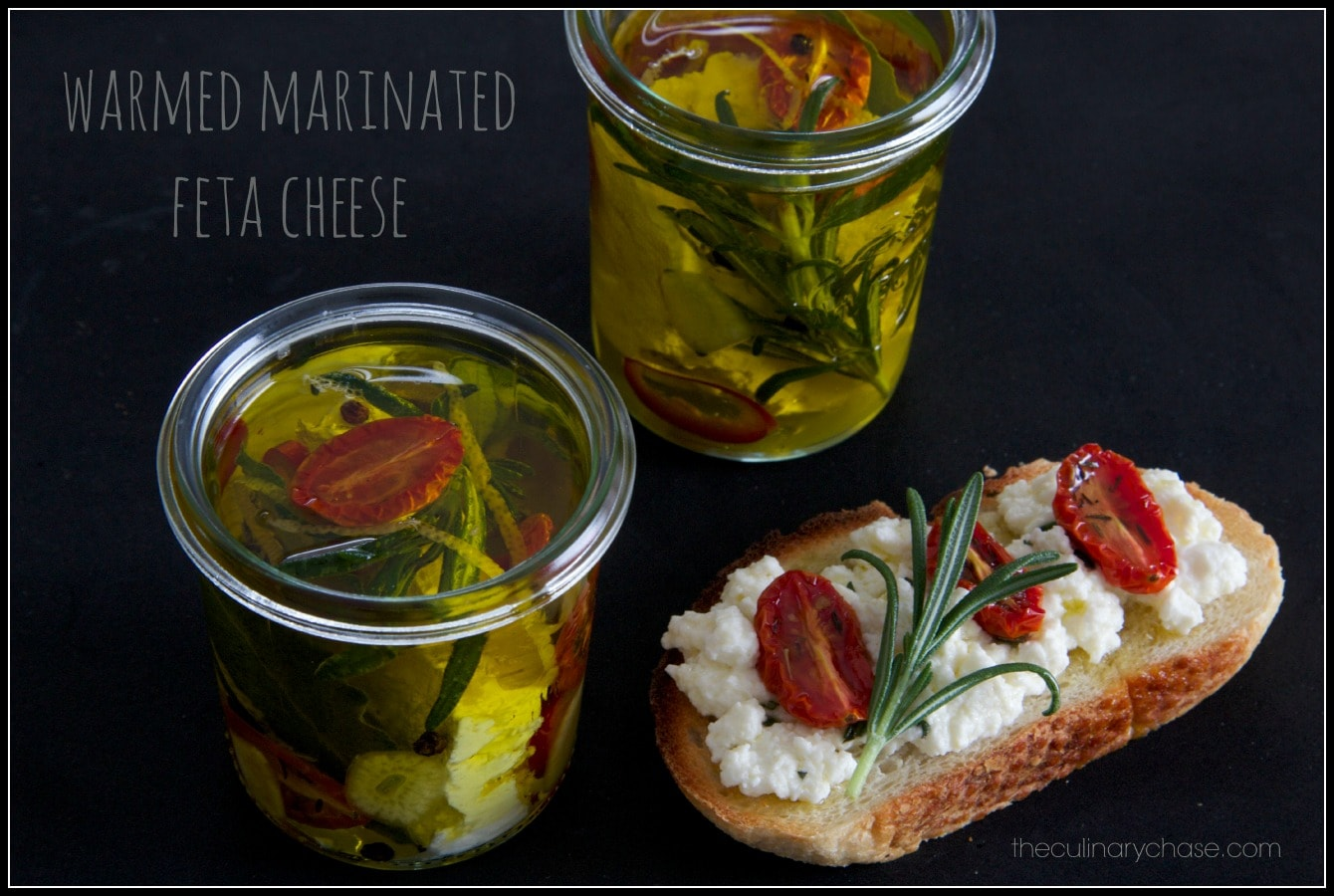 warmed marinated feta cheese