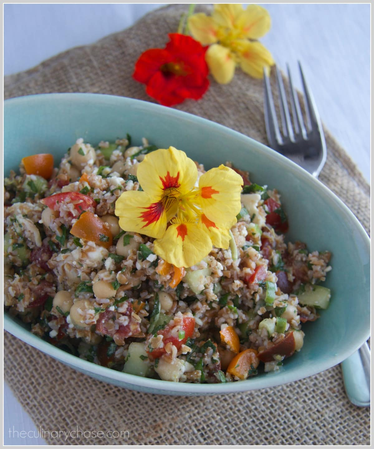 Bulgur Salad with Nasturtium Flowers by The Culinary Chase