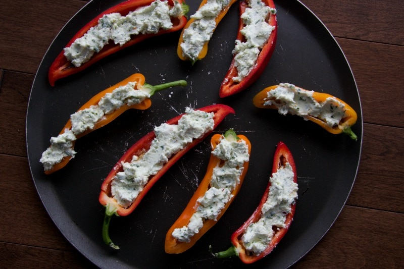 goat cheese stuffed bell peppers by The Culinary Chase