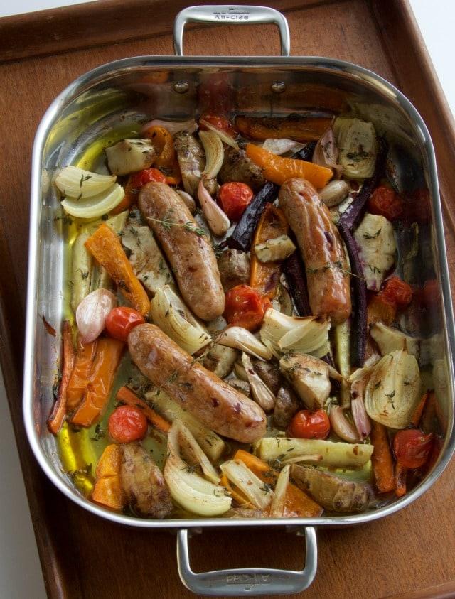 vegetable sausage roast