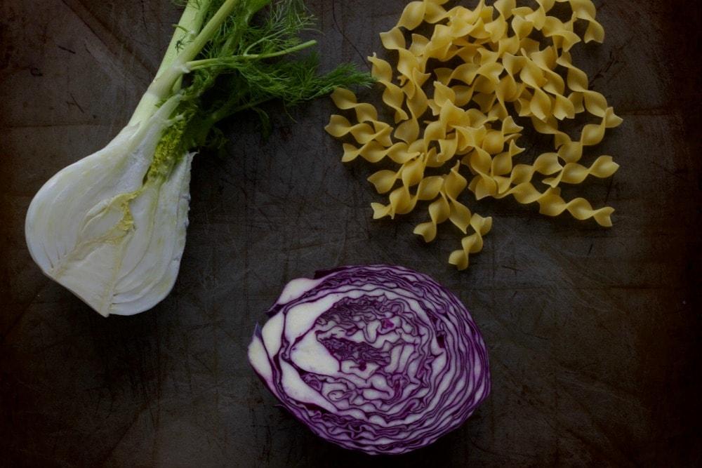 fennel, purple cabbage, noodles