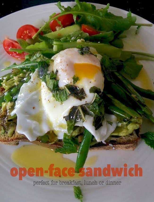 open-face sandwich with poached egg