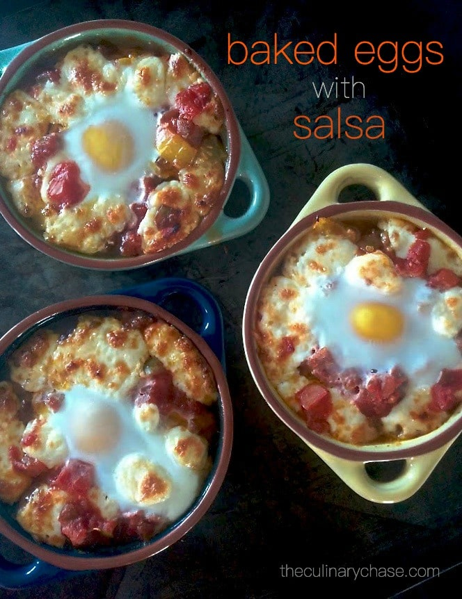 baked eggs with salsa