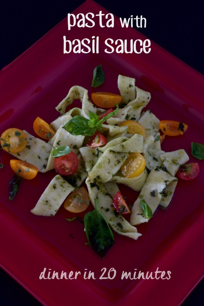 pasta with basil sauce