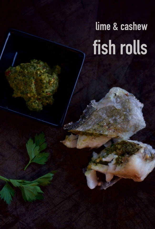lime and cashew fish rolls