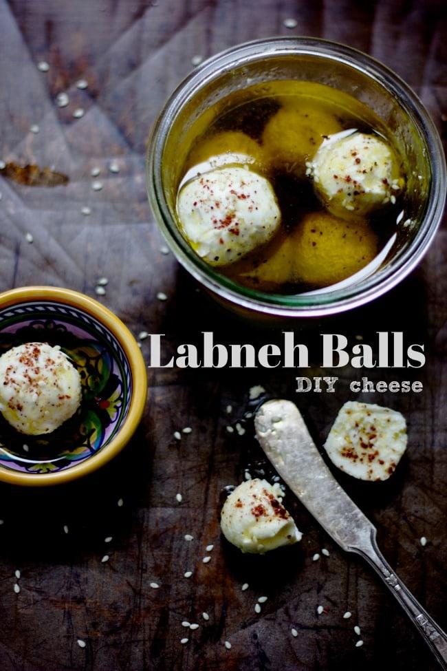 DIY yogurt labneh balls