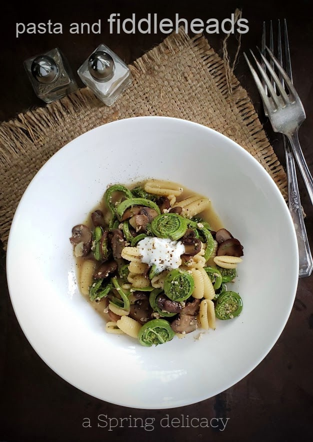 pasta and fiddleheads